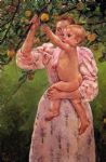 baby famous paintings - baby reaching for an apple aka child picking fruit by mary cassatt