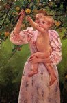 baby famous paintings - baby reaching for an apple by mary cassatt