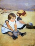 children watercolor paintings - children playing on the beach by mary cassatt