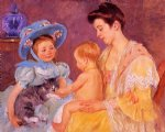 mary cassatt children playing with a cat painting 28852