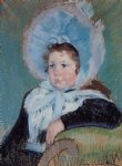 dark famous paintings - dorothy in a very large bonnet and a dark coat by mary cassatt
