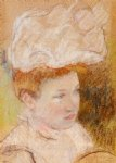 mary cassatt leontine in a pink fluffy hat painting