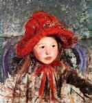 little girl in a large red hat by mary cassatt oil paintings