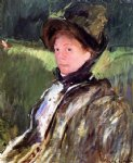 mary cassatt lydia cassatt in a green bonnet and a coat painting