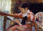 mary cassatt lydia seated at an embroidery frame painting