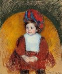 mary cassatt margot in a dark red costume seated on a round backed chair painting