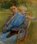 baby original paintings - mathilde holding a baby who reaches out to the right by mary cassatt