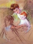 baby original paintings - mother and daughter looking at the baby by mary cassatt