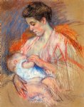 baby original paintings - mother jeanne nursing her baby by mary cassatt