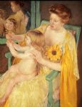 sunflower famous paintings - mother wearing a sunflower on her dress by mary cassatt
