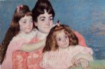 mary cassatt portrait of madame a. f. aude and her two daughters painting-28959