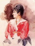 italian artwork - profile of an italian woman by mary cassatt
