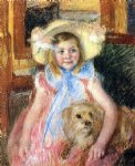 mary cassatt sara in a large flowered hat looking right holding her dog painting-28982