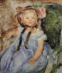 mary cassatt sara in dark bonnet with right hand on arm of chair painting