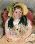 mary cassatt sara with her dog in an armchair wearing a bonnet with a plum ornament painting-28985