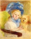 dog watercolor paintings - simone in a large plumed hat seated holding a griffon dog by mary cassatt