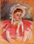 mary cassatt original paintings - simone in white bonnet seated with clasped hands no.1 by mary cassatt