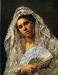 spanish art - spanish dancer wearing a lace mantilla by mary cassatt