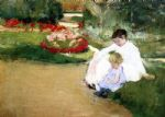 mary cassatt woman and child seated in a garden painting