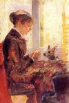 mary cassatt woman by a window feeding her dog painting-29038