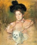 mary cassatt woman in raspberry costume holding a dog art