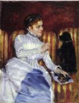 mary cassatt woman on a striped with a dog painting-29042