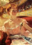 woman with a pearl necklace in a loge by mary cassatt posters