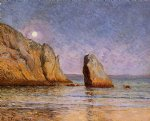 moonrise bay of douarnenez by maxime maufra painting