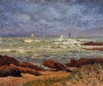 lighthouse original paintings - the barges lighthouse by maxime maufra