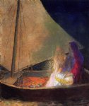 odilon redon art - boat with two figures by odilon redon