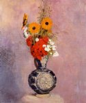 odilon redon bouquet of flowers in a blue vase ii painting-28513