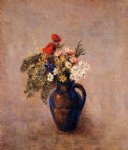 odilon redon bouquet of flowers in a blue vase iii painting-28514