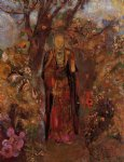 odilon redon buddah walking among the flowers painting-28529