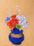 odilon redon flowers in a blue vase painting-28565