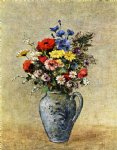 flowers in a vase with one handle by odilon redon watercolor paintings