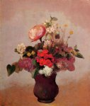 flowers in aa brown vase by odilon redon art