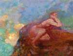 nude woman on the rocks by odilon redon art