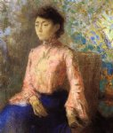 odilon redon portrait of jeanne chaine painting-28616