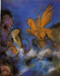 angel watercolor paintings - roger and angelica by odilon redon