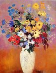 white vase with flowers by odilon redon painting