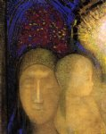 woman and child against a stained glass background by odilon redon painting