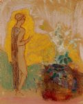 woman and stone pot full of flowers by odilon redon painting