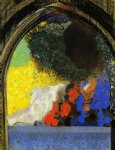 woman in profile under a gothic arch by odilon redon painting