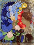woman with flowers by odilon redon painting