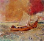 boat watercolor paintings - yellow boat by odilon redon