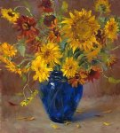 famous watercolor paintings - a bunch of chrysanthemum in a blue vase by original paintings