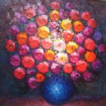 flower artwork - a bunch of flowers in a blue vase by original paintings
