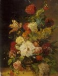 a bunch of flowers in a bronze vase by original paintings painting