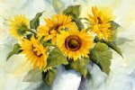 original paintings a bunch of sunflowers in a vase paintings