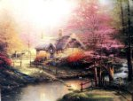 original a cottage by a stream painting-28478